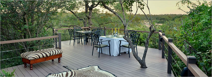 Enjoy delicious cuisine on the wooden deck overlooking the reserve